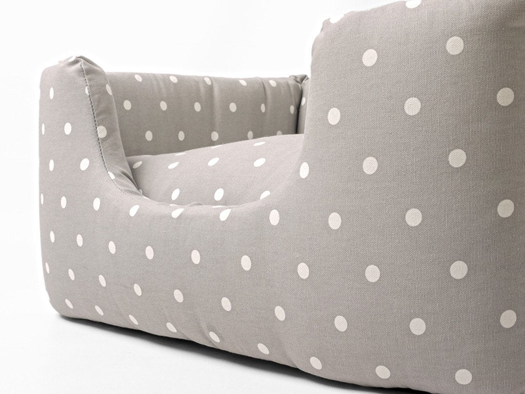 Deeply Dishy Dog Bed in Dotty Dove Grey