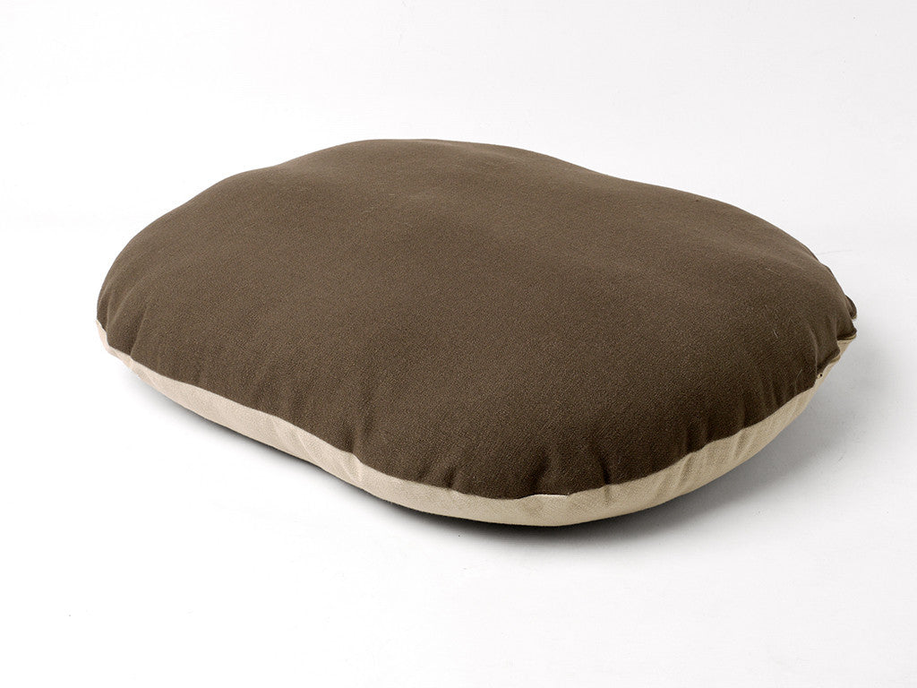 Oval Dog Bed Mattress with reversible cover in Stone and Coffee