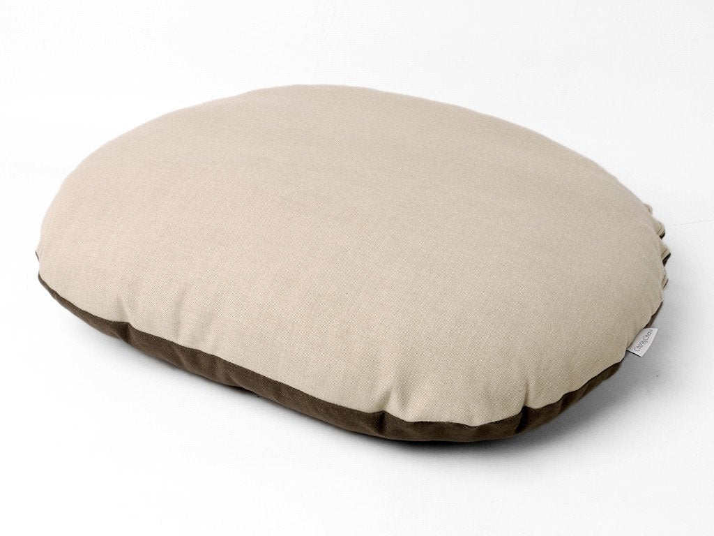 Oval Mattress Pad with reversible cover in Stone and Coffee