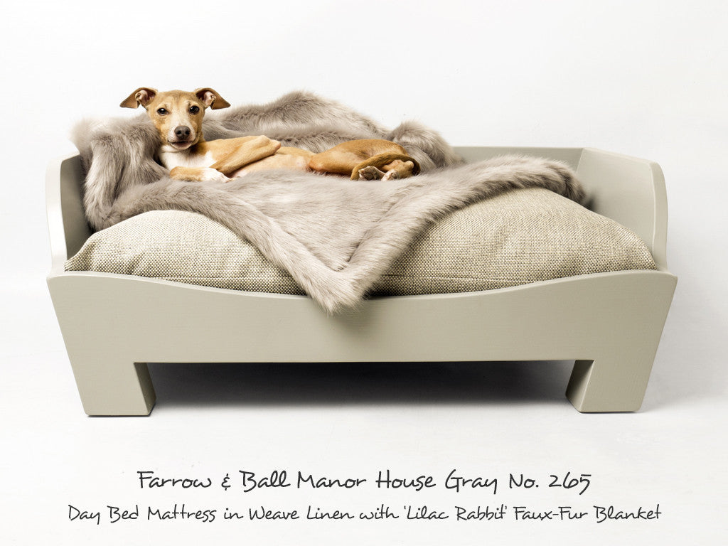 Raised Wooden Dog Bed in Manor House Gray