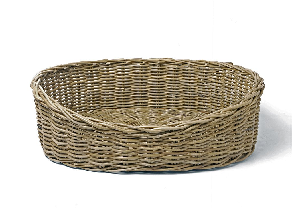 Rattan Dog Basket in Greywash Rattan