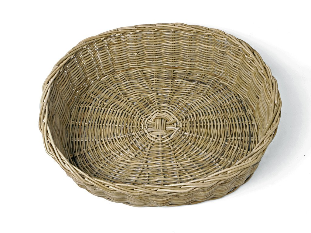 Oval Rattan Dog Basket in Greywash Rattan