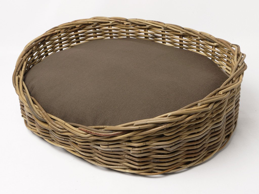 Oval Greywash Rattan Dog Basket with Oval Mattress - Coffee