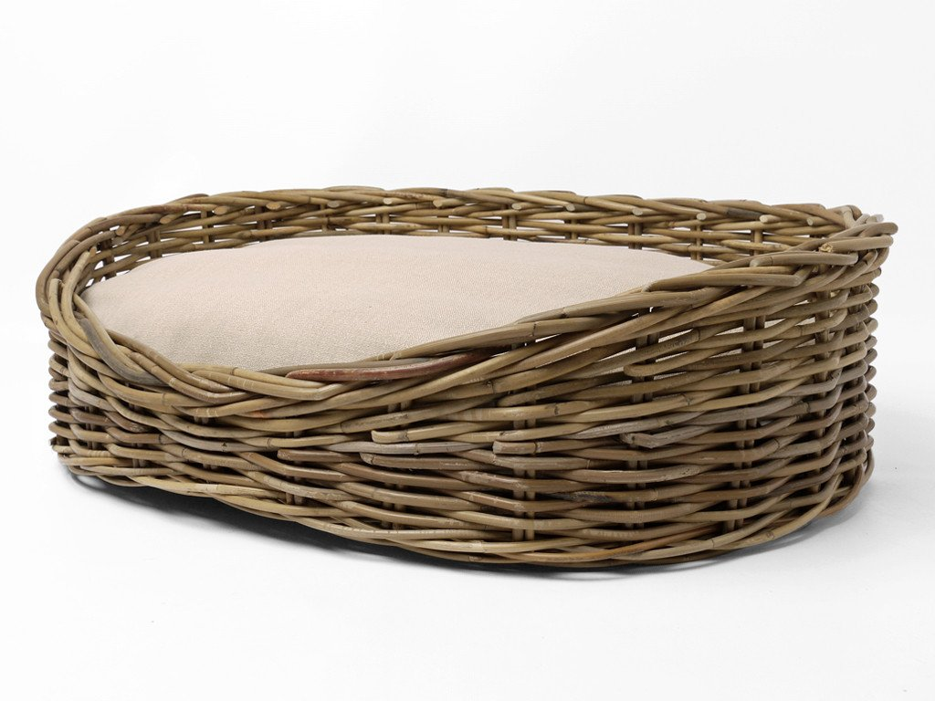 Oval Greywash Rattan Dog Basket with Oval Mattress - Stone