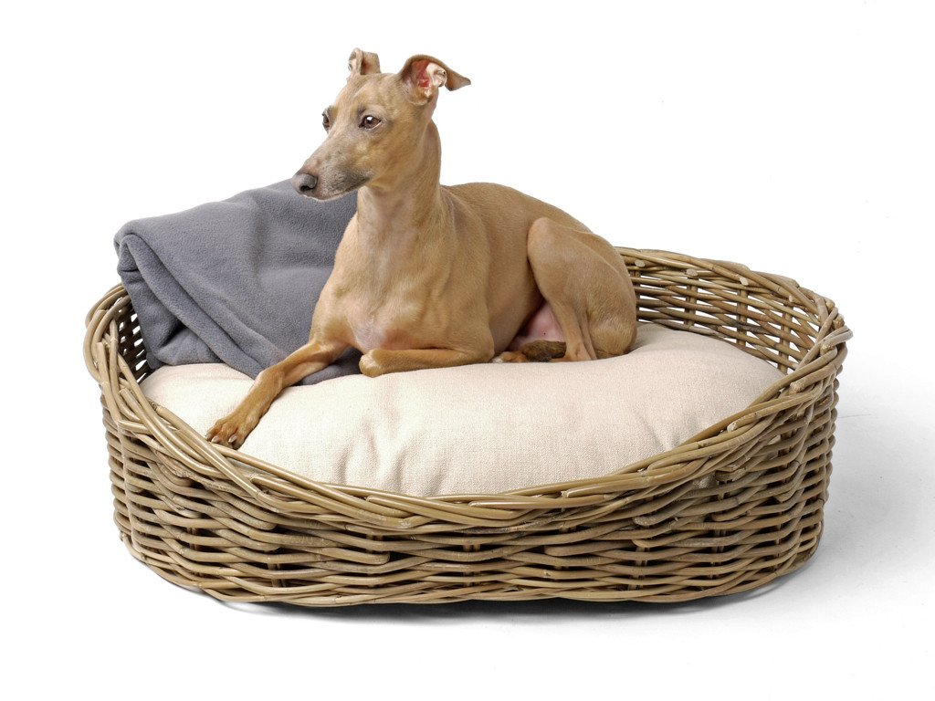 Oval Greywash Wicker Dog Bed Reversible Mattress Set Charley Chau Luxury Dog Beds Blankets