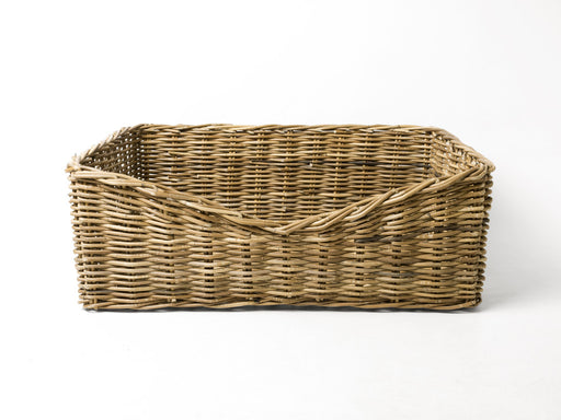 Rectangular Greywash Rattan Dog Basket