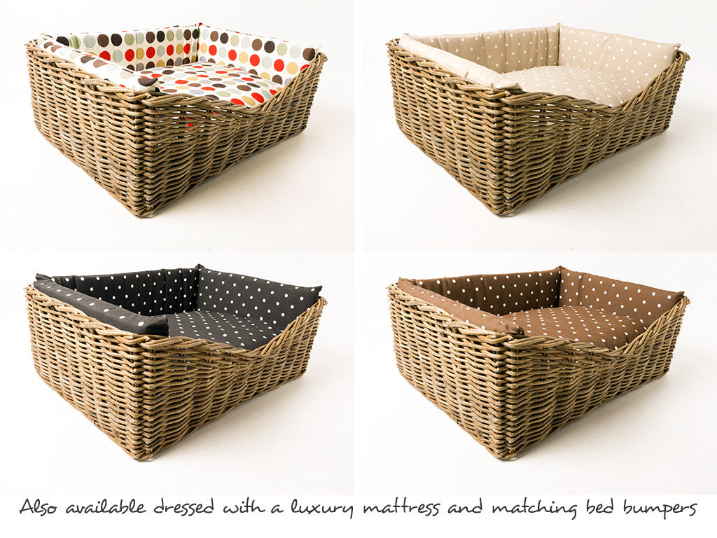 Basket available dressed in four pretty cotton prints - see separate listing on this site
