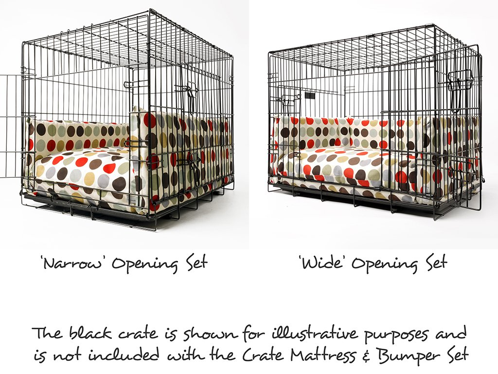 Dog Crate Mattress and Bed Bumper Sets - Wide and Narrow Openings