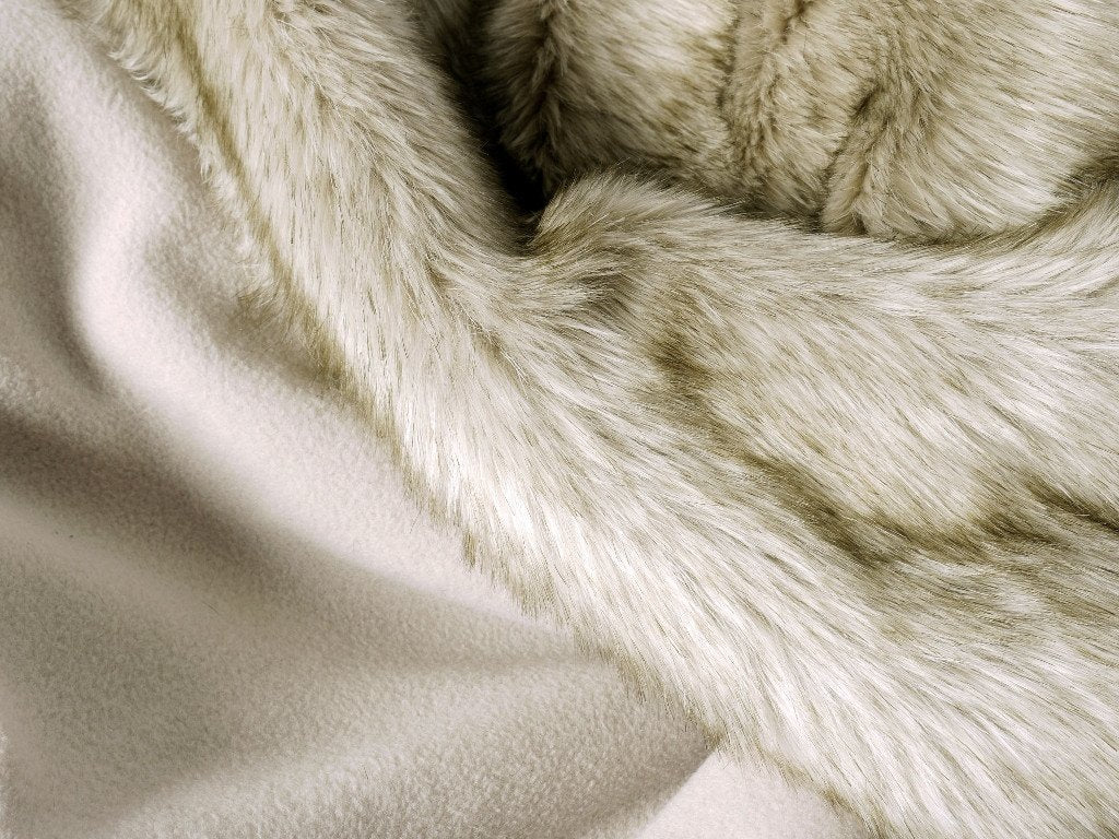 Faux-Fur Dog Blanket in Oatmeal backed with a super-soft fleece in Oyster