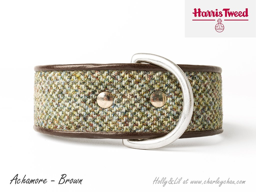 Wide Dog Collars in Harris Tweed by Holly&Lil