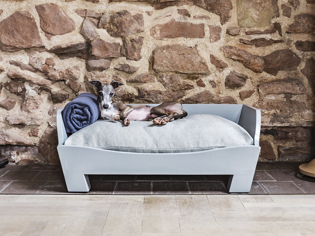 Raised Wooden Dog Bed by Charley Chau in Farrow & Ball Manor House Gray