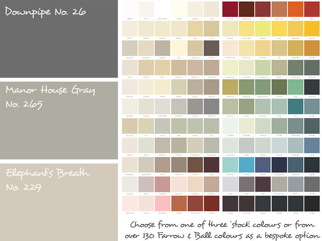 "Choose from one of our three ""stocked"" paint colours or from over 130 Farrow & Ball colours as a 'bespoke' option"
