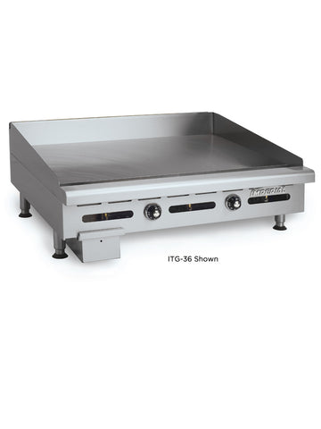 "Imperial ITG-24 24"" Commercial Gas Griddle Counter Top, Thermostatic Control, 1"" Plate"