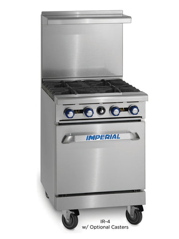 "Imperial Range IR-4 Commercial 24"" Gas 4 Burner Restaurant Range W/ Space Saver Oven"