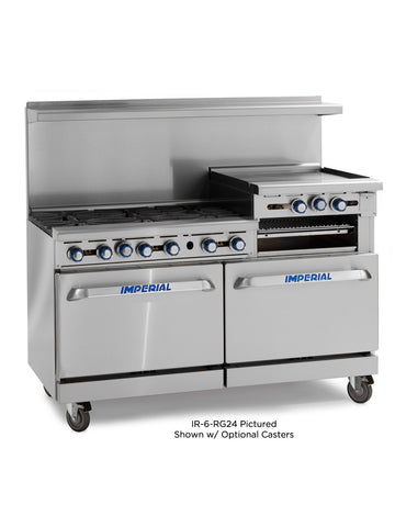 "Imperial Range IR-6-RG24 Commercial 60"" Gas Range W/ 6 Burners, 24"" Raised Griddle, Broiler, and 2 Ovens"