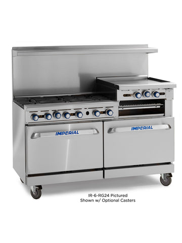 "Imperial Range IR-6-G24 Commercial 60"" Gas Range W/ 6 Burners, 24"" Raised Griddle, Broiler, and 2 Ovens"