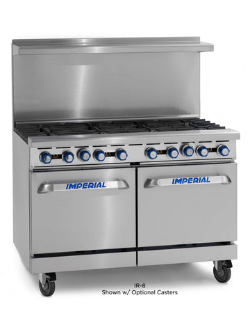 "Imperial Range IR-8 Commercial 48"" Gas 8 Burner Restaurant Range W/ 2 Space Saver Ovens"