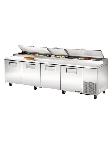 "TRUE TPP-119 119"" 4 Door Refrigerated Pizza Prep Table"