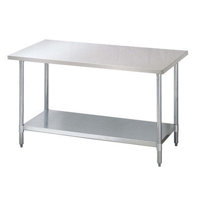 "30"" x 96"" Work Table, 18/430 Stainless Steel Top, Galvanized Shelf TSW-3096E"