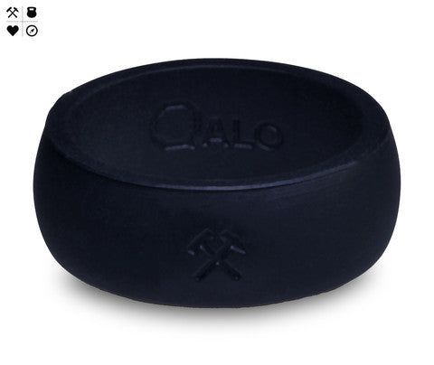 QALO Men's Black Silicone Ring