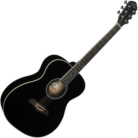 Oscar Schmidt OAB Auditorium Acoustic Guitar — Black