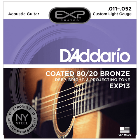 D'Addario EXP13 Coated 80/20 Bronze, Custom Light, .011-.052