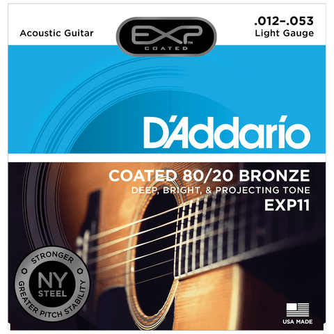 D'Addario EXP11 Coated 80/20 Bronze, Light, .012-.053