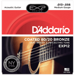 D'Addario EXP12 Coated 80/20 Bronze, Medium, .013-.056
