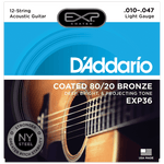 D'Addario EXP36 Coated 80/20 Bronze 12-String, Light, 10-47