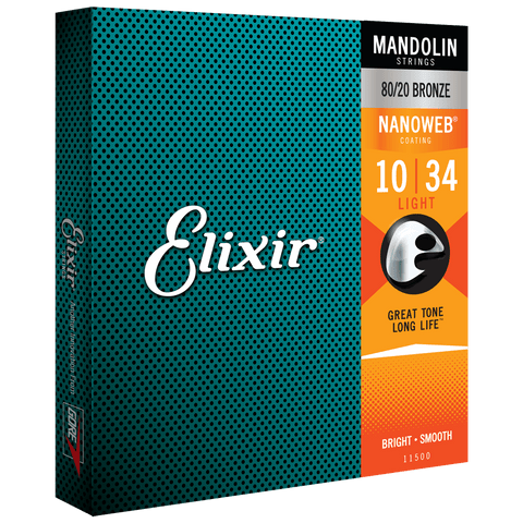 Elixir NANOWEB 80/20 Bronze Mandolin — 11500 Light .010-.034