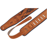Levy's MSS3EP-006 Tan Suede Guitar Strap w/Embroidered And Printed Design