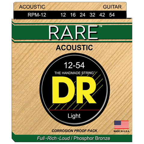 DR Strings RPM-12 Rare Phosphor Bronze Light Acoustic 12-53