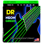 DR Strings NGE-10 NEON Green Coated Electric Medium 10-46