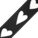 D'Addario Deluxe Leather Guitar Strap, Heart Patches, Black w/ White – L25W1414