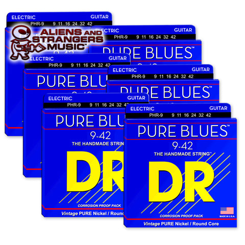 6 Sets! DR Strings PHR-9 PURE BLUES™ Pure Nickel Electric Strings Light 9-42