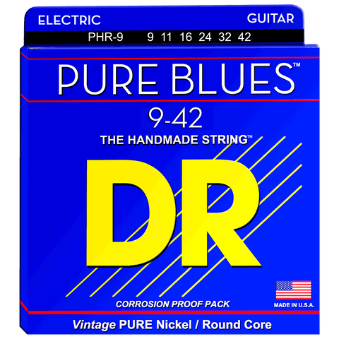 DR Strings PHR-9 PURE BLUES™ Pure Nickel Electric Strings Light 9-42