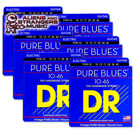 6 Sets! DR Strings PHR-10 PURE BLUES™ Pure Nickel Electric Medium 10-46
