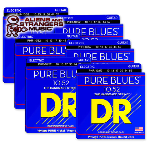 6 Sets! DR Strings PHR-10/52 PURE BLUES™ Pure Nickel Electric Big-Heavy 10-52
