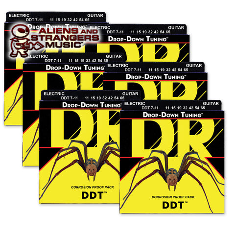 6 Sets! DR Strings DDT7-11 Drop-Down Tuning Electric 7-String Heavy 11-65