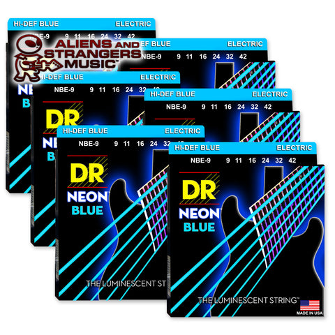 6 Sets! DR Strings NBE-9 NEON Blue Coated Electric Light 9-42