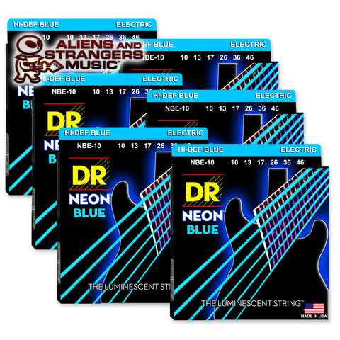 6 Sets! DR Strings NBE-10 NEON Blue Coated Electric Medium 10-46
