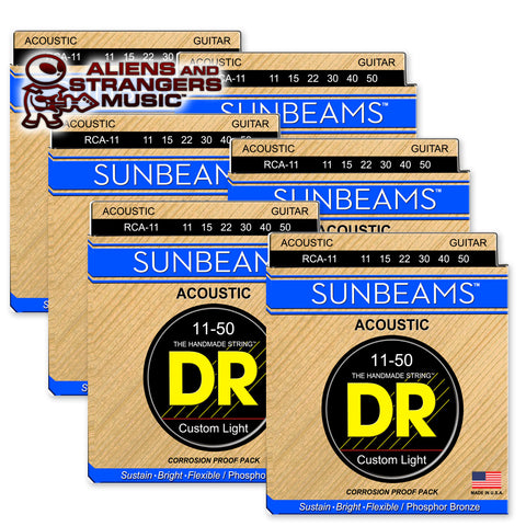 6 Sets! DR Strings RCA-11 Sunbeam Phosphor Bronze Custom Light 11-50