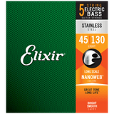 Elixir NANOWEB Stainless Steel Bass — 5-String 14777 Light .045-.130