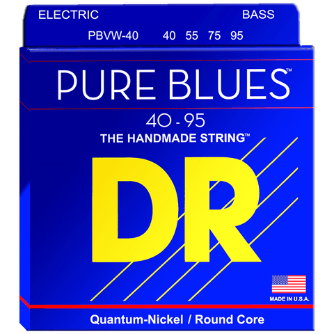 DR Strings PBVW-40 PURE BLUES™ Quantum Nickel™ Bass Extra Light 40-95