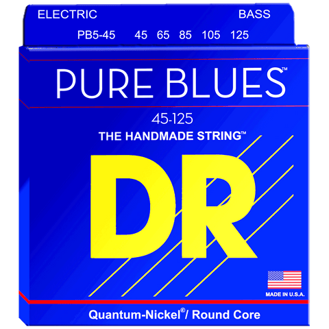 DR Strings PB5-45 PURE BLUES™ Quantum Nickel™ 5-String Bass Medium 45-125
