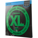 D'Addario EXL220-5 Super Light, 5-String Nickel Wound Bass Strings, 40-125