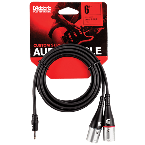 "D'Addario Custom Series 1/8"" to Dual XLR Audio Cable, PW-MPXLR-06"