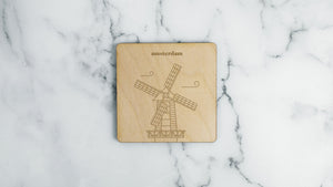 De Gooyer Windmill engraved birch wood landmark coaster
