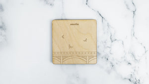 Congress Avenue Bridge engraved birch wood landmark coaster