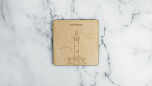 Washington Monument engraved birch wood landmark coaster